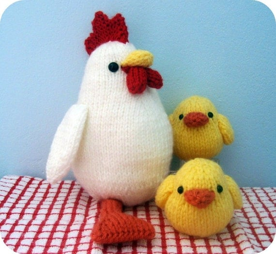 Sale - Amigurumi Knit Chicken and Chicks Pattern Set Digital Download