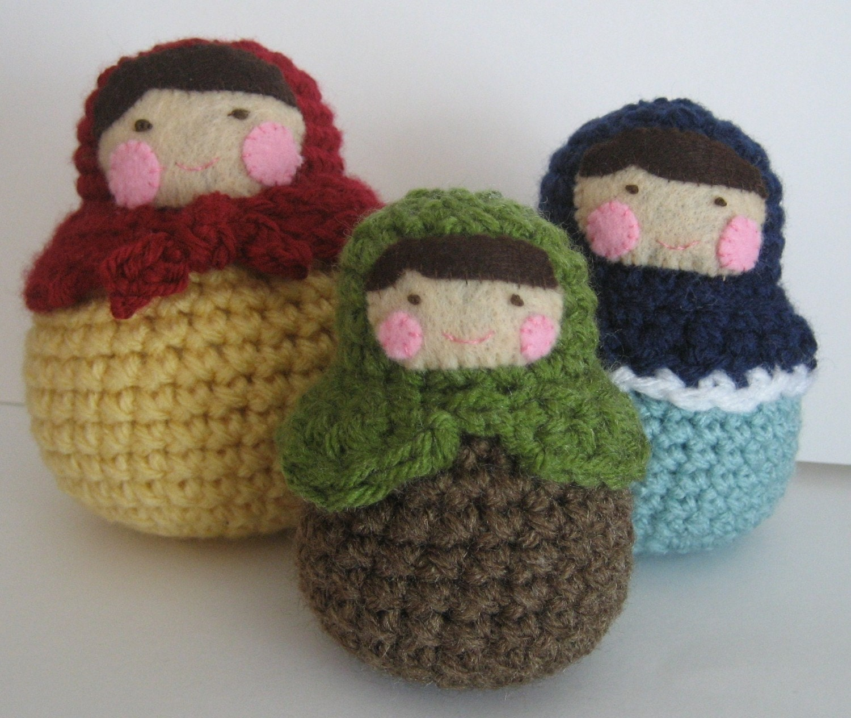 Amigurumi Russian Dolls : Sale Amigurumi Crochet Matryoshka Roly-Poly Dolls Pattern