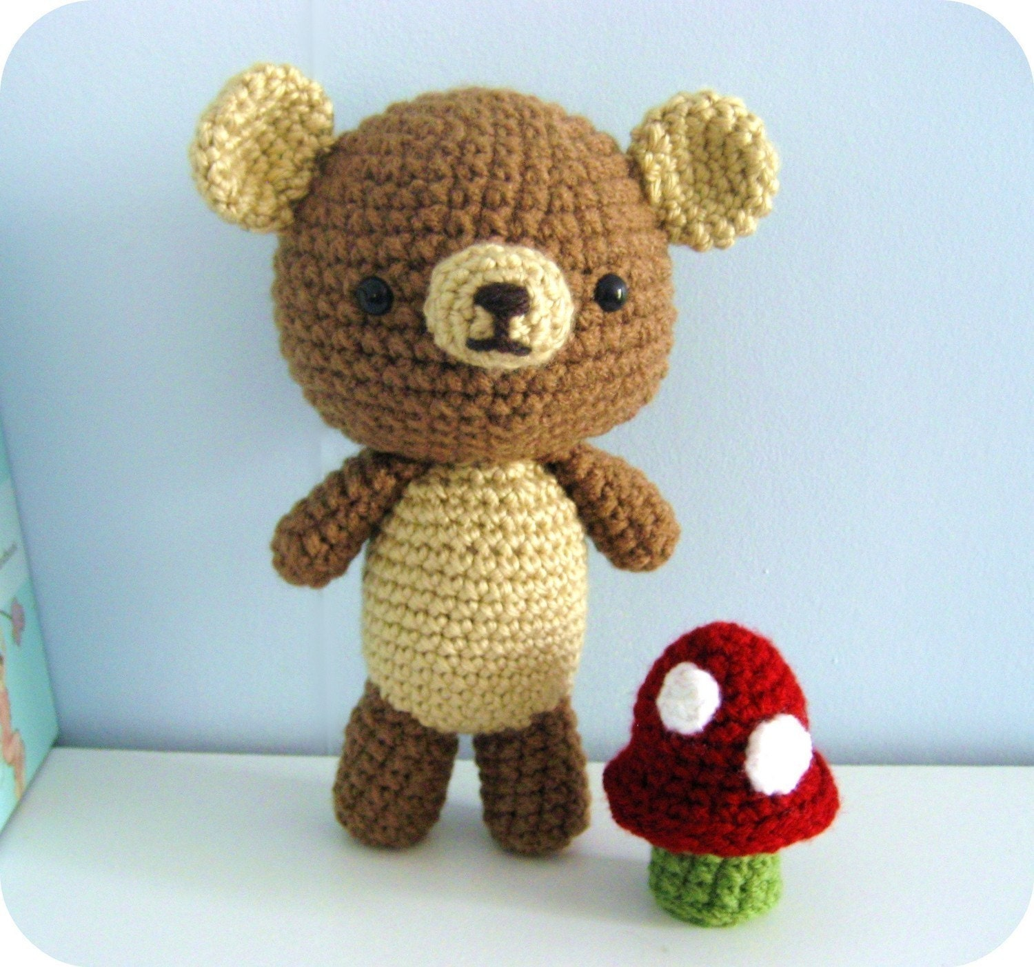 Amigurumi Crochet Bear and Mushroom Pattern Set Digital