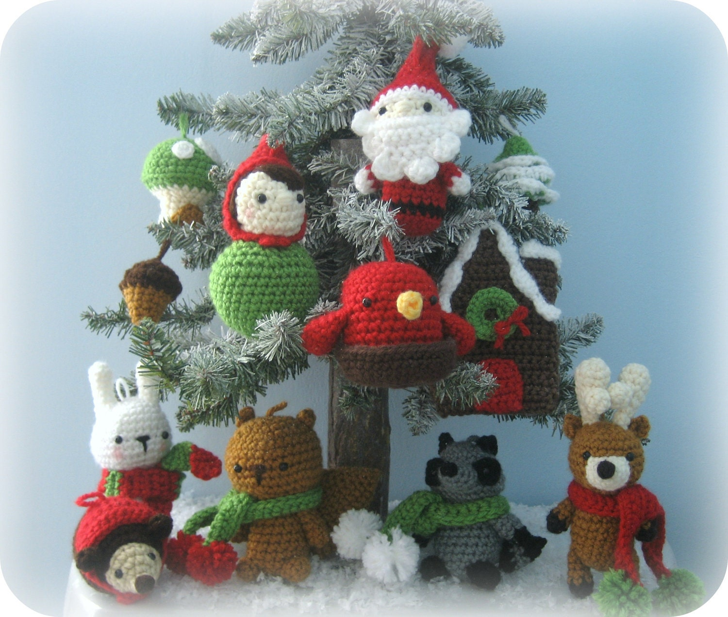 Amigurumi crochet woodland christmas ornament pattern set for Animals decoration