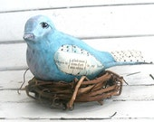Gladness, Comfort, Sunshine handcarved wooden mixed media bird
