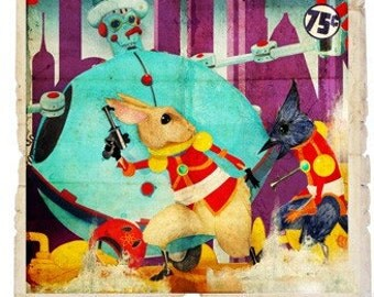 Pieter Rabbit and the Mechanical Unlimited - Giclee