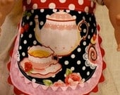 "Pink and red tea party apron for American Girl 18""  doll"