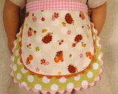 "Pink and green hedgehog double layer apron for American Girl 18""  doll"