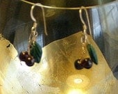Juicy Sweet Cherry Earrings Drops - Summer Gold with Garnet Cherries