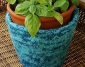 Hand knit and felted wool flowerpot cozy or bowl Turquoise and Aqua