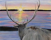 Reserved Elk Watching Sunset Original Oil Painting