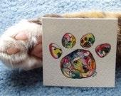 Custom Pet Portrait Painting Dog Cat Paw Print Art Christmas Stocking Memorial Last Minute Gift Miniature Watercolor animal Painting
