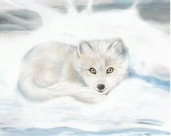 Arctic Fox Art Print 5 x 7 inch Snowy winter cold night blizzard snowdrift winter artwork
