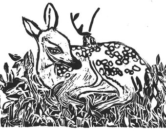Baby Deer Artwork Fawn Black and White Linocut Print 8 x 10 holiday decor home decor