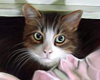 Custom cat portrait, Memorial artwork, digital pet portrait, lifelike, chinchilla, dog art, pet loss, rainbow bridge