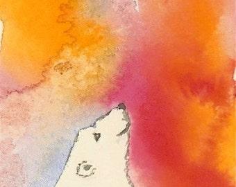 Polar Bear Art  Bear Painting Miniature Artwork Watercolor Global Warming Endangered Bear Prayer