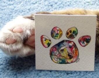 Custom Paw Print, Pet Portrait, Pet Loss Memorial, Miniature Cat Paw print art, dog paw art, rainbow colors, watercolor pet artwork
