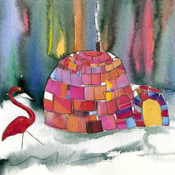 Northern LIghts Painting Snowbirds Pink Flamingos Igloo Aurora Borealis original watercolor/collage art home decor