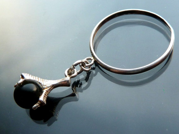 Dragon or Eagle Claw Ring in sterling silver with black onyx ball orb size 8 talon