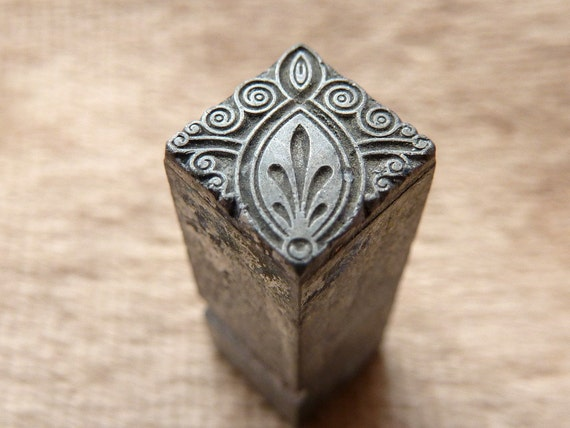 Victorian Fleur De Lis Plant Metal Stamp Antique For Polymer
