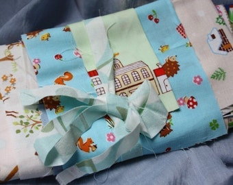 Special buy 3 get 1 free offer.  GRAB BAG of Japanese Kawaii Scraps - Includes Super Cute Kawaii Cotton and Linen Blend Fabrics.