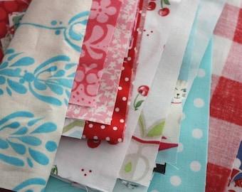 Sale.  Grab Bag of Pink, Red, and Aqua Fabric Scraps.