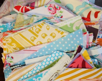2.5 Pounds of SCRAPS.  Flat Rate Box STUFFED with designer fabrics. Very Small Scraps. Postage Stamp Quilts.  Tiny fabric pieces.