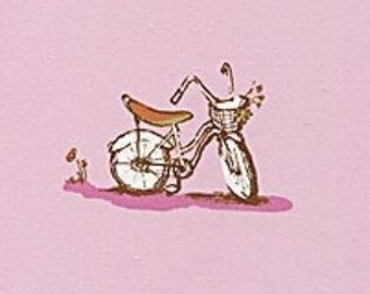 Heather Ross Dream Bikes on Pink Rare, Hard to Find.  Lighting Bugs Discontinued Cotton Fabric Fat Quarter.