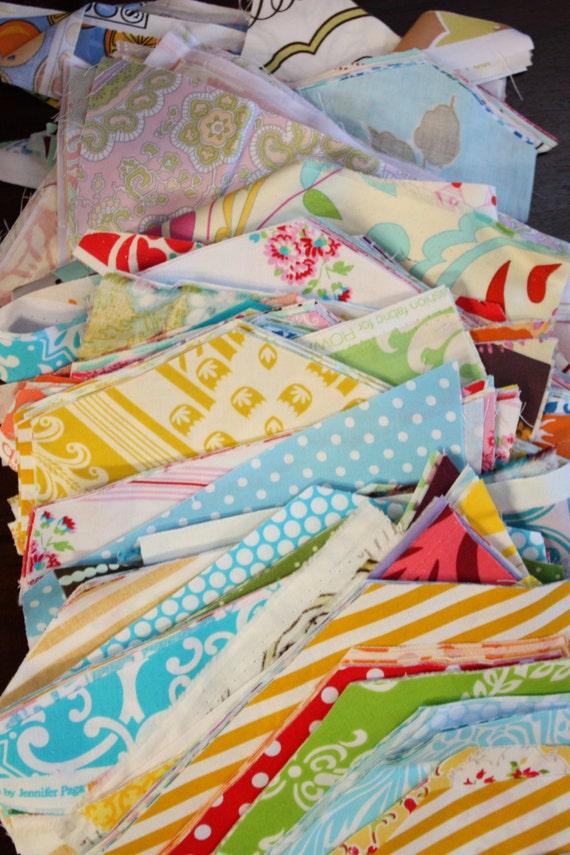 SALE. One pound of designer cotton fabric scraps. Scrap Grab Bag.  Great Designer Fabrics.