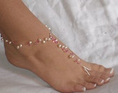 Swarovski Crystals and Freshwater Pearl Beach Wedding Barefoot Sandals