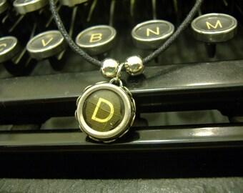 D Initial VINTAGE TYPEWRITER Key NECKLACE Black Key Retro Fun