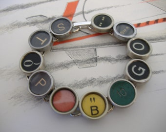 TYPEWRITER KEY BRACELET Stop Light Go Red Yellow Green Unique Colors