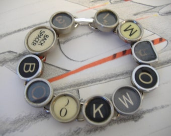 BOOKWORM TYPEWRITER Key BRACELET New Design One of a Kind Unique