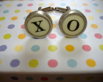 CUFFLINKS TYPEWRITER Key  CUSTOM Vintage Initials Wedding Unique Gift