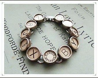 Typewriter Key Bracelet All LIight Keys One Of A Kind Unique