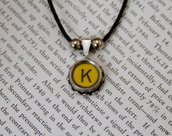 CUSTOM Vintage TYPEWRITER Key NECKLACE Initials Symbol You Choose Retro Fun
