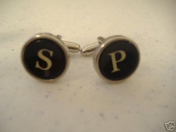CUSTOM Vintage TYPEWRITER Key CUFFLINKS Initials Wedding Unique Gift