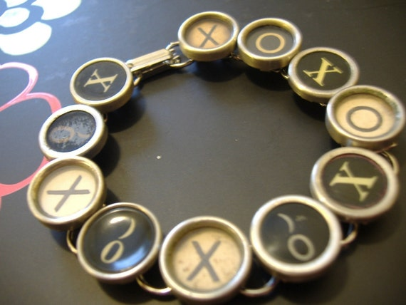 TYPEWRITER KEY BRACELET Jewerly Made with Typewriter Keys Hugs and Kisses xoxo xo