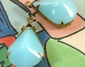 Aqua, Vintage Glass, Opaque, Pear, 18mm, 12mm, Jewel, Patina Brass Settings, One Pair, Worldwide International Shipping