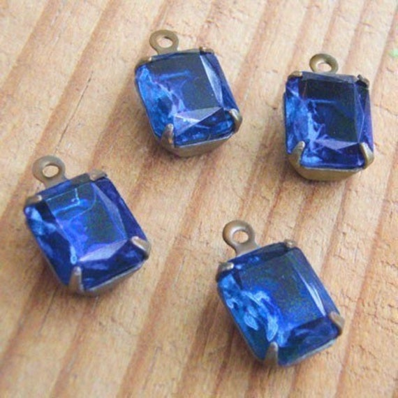 Two Pairs, Sapphire Blue Vintage Rhinestone Octagon Jewels, Patina Brass Settings, 10mm x 8mm, Glass, One or Two Rings, Worldwide Ship
