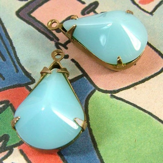 Aqua, Vintage Glass, Opaque, Pear, Patina Brass Settings, 18mm, 12mm, Jewel, One Pair, Worldwide International Shipping