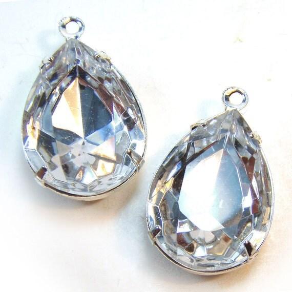 Crystal, Rhinestone, Pear, Silver Plated Settings, 18mm, 13mm, Glass, Gems, Jewels, One Pair, International Shipping