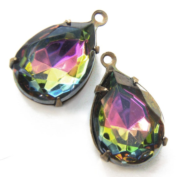 Vitrail, Volcano, Vintage Rhinestone, Pear, 15mm, 11mm, Patina Brass Settings, Glass, Jewel, One Pair, Worldwide Shipping