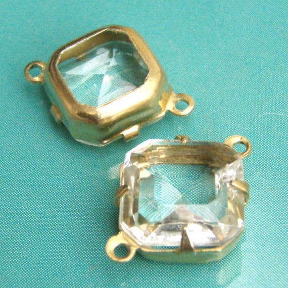 Clear, Vintage Rhinestone, Octagon, Golden Brass Settings, 10mm x 10mm, One Ring or Two Ring, One Pair, Worldwide Shipping