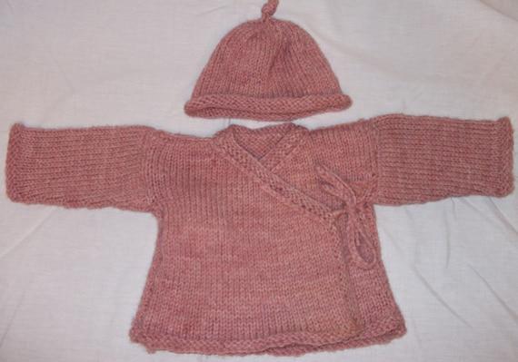 Luscious Merino Hand Knit Newborn Baby Kimono Sweater in Rose Heather Pink