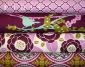 AVIARY 2  / Joel Dewberry Fabric / 4 Half Yard Bundle /  LILAC  Cotton Quilt Fabric
