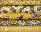 Joel Dewberry Fabric /  5 Half Yard Bundle   / Vintage Yellow  / Aviary 2 - Cotton Quilt Fabric