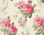 END of Bolt / Stemmed Flowers in White / Barefoot Roses by Tanya Whelan / Cotton Quilt Fashion Fabric / Quilt Apparel Fabric