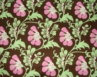 LAST 1/2 Yard Amy Butler Fabric / Sweet Jasmine in Brown / Daisy Chain Fabric - Cotton Quilt  Fabric