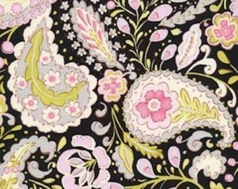 SALE  Dena Designs Fabric / McKenzie /  PAISLEY in BLACK / 1 Yard Cotton Quilt Fashion Fabric