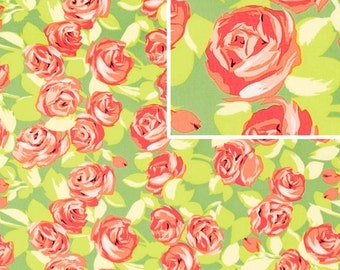Amy Butler,,,,LOVE,, Tumble Roses in Tangerine,,1yd, Quilt Apparel Fabric