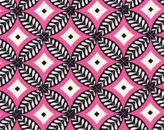 SALE  Circles in Black PINK /Dena Designs Fabric / McKenzie /   1 Yard Cotton Quilting Fabric