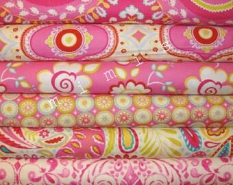 Dena Designs Fabric / KUMARI GARDEN / 6 Half Yard Bundle - PINKS - Cotton Quilt Fabric