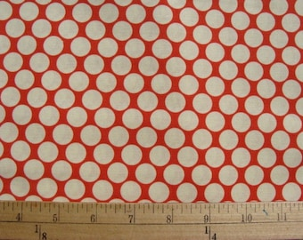 Amy Butler Full Moon Dots in Cherry, Lotus Quilt Apparel Fabric 1 Yard